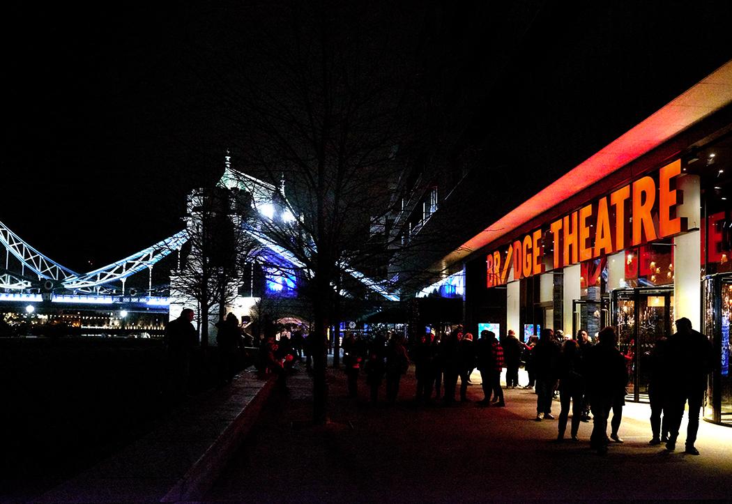 The Bridge Theatre exterior at night