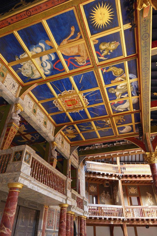 Shakespeare's Globe stage roof upright