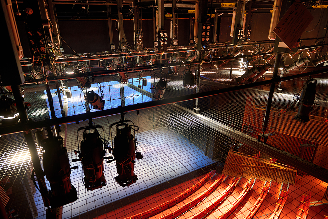 The Hampstead Theatre showing the tension wire grid