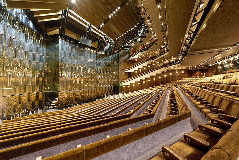 Barbican Theatre auditorium with curtain down